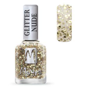 Körömlakk -Glitter Nude 393 Gold 12ml - Moyra