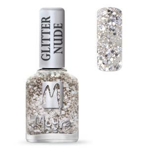 Körömlakk - Glitter Nude Silver 12ml - Moyra