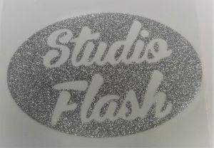 Felvasalható logó: ezüst teli csillámos