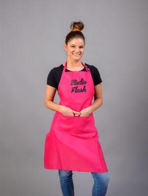 Studio Flash kötény - pink - fekete csillámos felirat