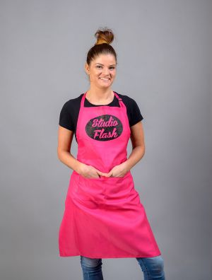 StudioFlash kötény - pink - fekete csillámos logo