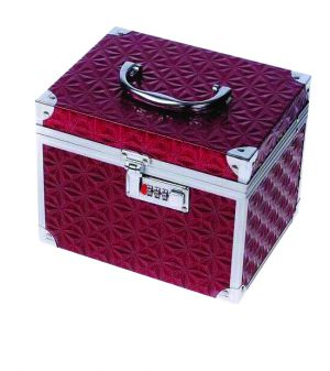 Beauty táska - domború piros - műkörmös, pillás, kozmetikai bőrönd