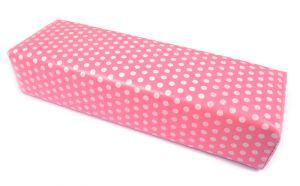 Kéztámasz - műbőr pink fehér pöttyös